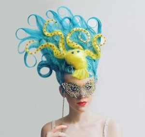 Antoinette Johnson's hair sculpture (photo by Jo Lance, modelling by Emma)